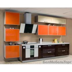Кухня из массива Ольхи и Акрил Т 302/104 Оранжевый