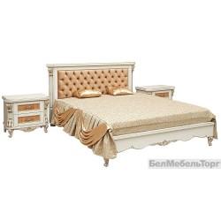 Кровать двойная «Альба 16/1п» П 524.05/1  слоновая кость с золочением