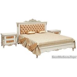 Кровать двойная «Альба 16/1пк» П 524.05/1к  слоновая кость с золочением