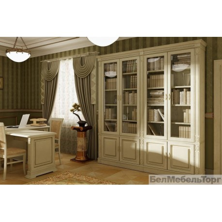 Набор корпусной мебели для библиотеки Верди 4 П196.Н4Д8 слоновая кость