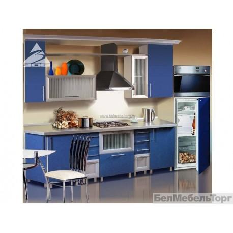 Кухня Терра голубая кромка металлик