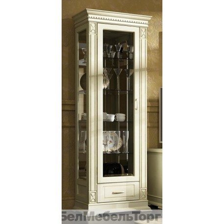 Шкаф с витриной Верди А1з слоновая кость П1079.11з