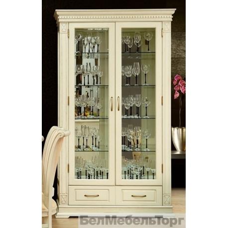 Шкаф с витриной Верди А2з слоновая кость П1079.21з