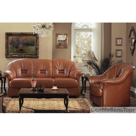 Трёхместный кожаный диван Омега