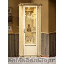 """Шкаф с витриной """"Алези 10"""" (угловая) П 350.13 слоновая кость с золочением"""