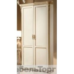 Шкаф 2-х дверный «Алези» П 349.10 слоновая кость с золочением