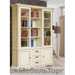 Шкаф комбинированный «Алези» библиотека (П 395.03) слоновая кость с золочением