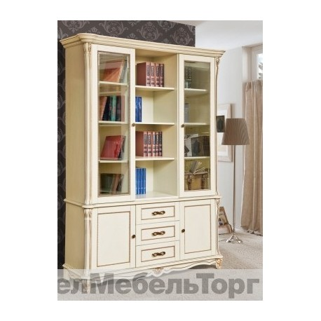 Шкаф комбинированный «Алези» (библиотека) п.395.03  с/к с золочением