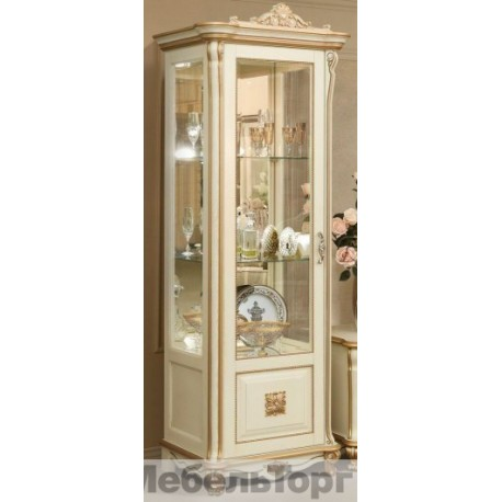 """Шкаф с витриной """"Алези 8 Люкс"""" П350.08л с/к с золочением."""