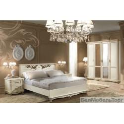 """Спальня """"Алези"""" с низким изножьем слоновая кость с золочением"""