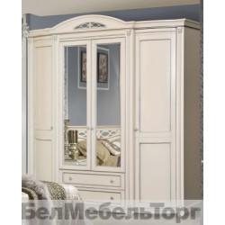 "Шкаф 4-х дверный ""Валенсия 4"" П 254.11 античная темпера с серебром"