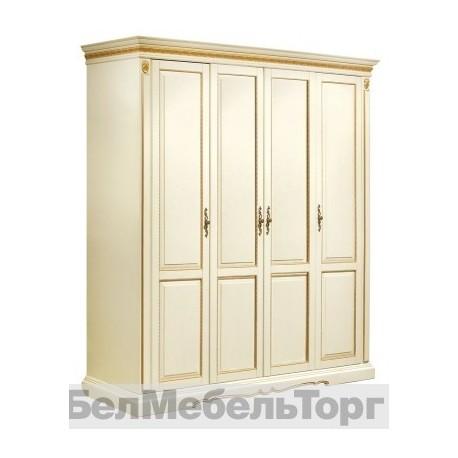 Шкаф 4-х дверный «Милана 02\1» (П 294.24) слоновая кость с золочением