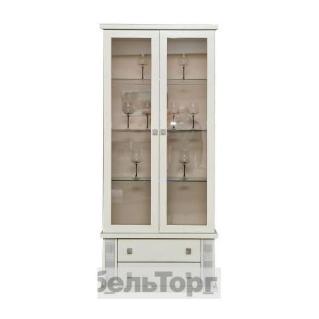 Шкаф с витриной Тунис  П343.12Ш слоновая кость с серебром