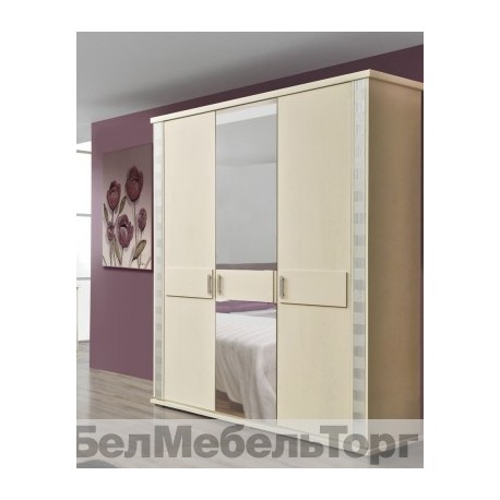 Шкаф 3-х дверный для одежды Тунис П344.01 слоновая кость с серебром