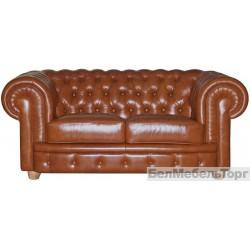 Двухместный кожаный диван Честерфилд