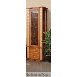 """Шкаф с витриной """"Тунис"""" П 343.19Ш медовый с золочением"""