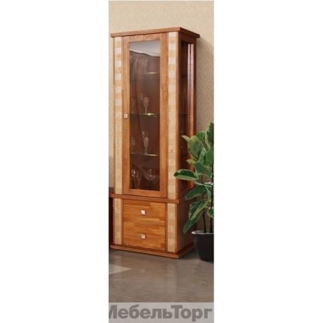 Шкаф с витриной  Тунис П 343.19Ш рустикаль с золочением