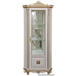 """Шкаф с витриной """"Алези 10 Люкс"""" (П350.13л) слоновая кость с золочением"""