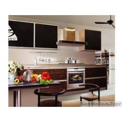 Кухня Тафель глянец зебрано\крашеное стекло 3Н 1