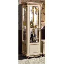 """Шкаф с витриной """"Алези 8""""  (П 350.08) слоновая кость с золочением"""
