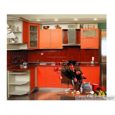 Кухня Терра оранж кромка металлик