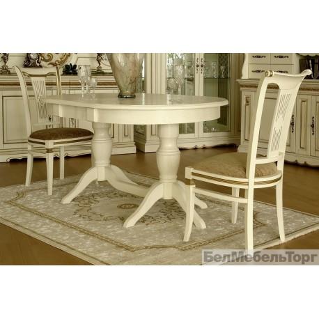 Верди 2РД стол обеденный П106.06-01 слоновая кость с золочением