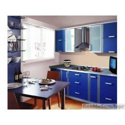Кухня Софт голубой, кромка Алюминий