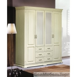 Верди шкаф четырехдверный для одежды П095.01 слоновая кость