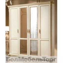 """Шкаф 4-х дверный """"Алези"""" (П 349.02) слоновая кость с золочением"""