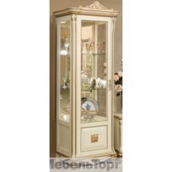 """Шкаф с витриной """"Алези 8 Люкс"""" (П350.08л) слоновая кость с золочением."""