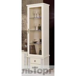 Шкаф с витриной Тунис  П343.01Ш слоновая кость с серебром