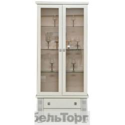 Шкаф с витриной Тунис П 343.12Ш слоновая кость с серебром