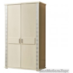Шкаф 2-х дверный Тунис п.344.06 слоновая кость с серебром