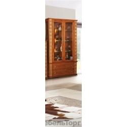 Шкаф с витриной Тунис  П 343.20Ш рустикаль с золочением