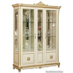 """Шкаф с витриной """"Алези 5 Люкс"""" (П350.05л) слоновая кость с золочением"""
